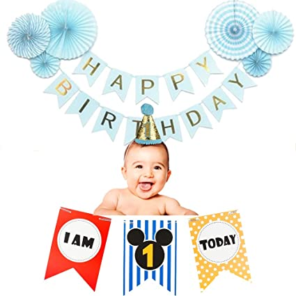 Baby Boys 1st Birthday Party Decorations Set