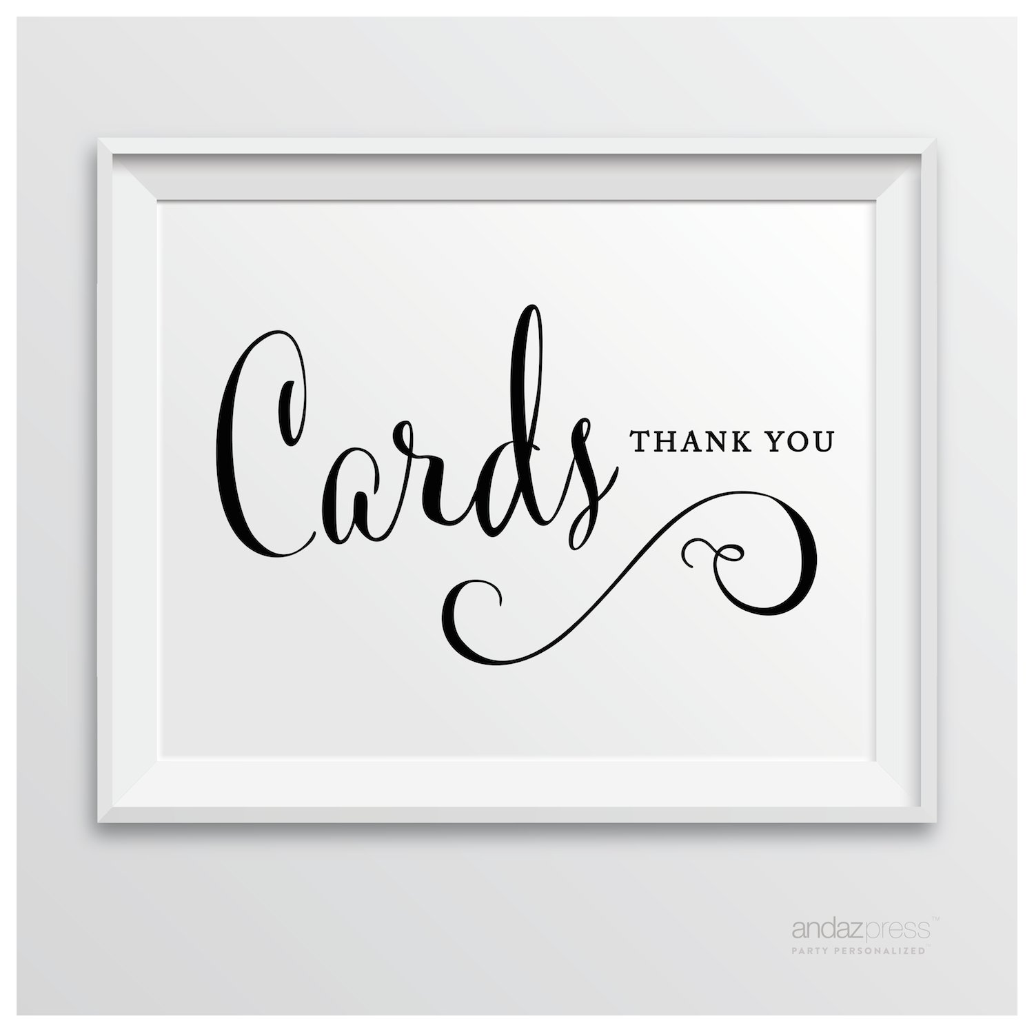 8.5-inch x 11-inch Script Reception Card Print Gift Table Poster 1-Pack Andaz Press Wedding Party Signs Cards and Gifts Thank You Formal Black and White