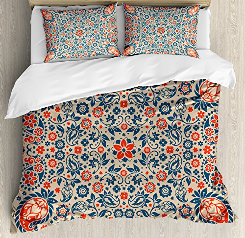 Ambesonne Paisley Duvet Cover Set Queen Size, Arabesque Floral Ornate Pattern Cultural Folk Persian Middle Eastern, Decorative 3 Piece Bedding Set with 2 Pillow Shams, Orange Night Blue Tan