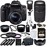 Canon EOS Rebel T6i Digital SLR Camera Kit with 18-55mm Lens + Canon EF 75-300mm f/4-5.6 III Lens + Sony 32GB UHS-I SDHC Memory Card (Class 10) + Remote + Canon EOS Shoulder Bag 100ES (Black) Bundle