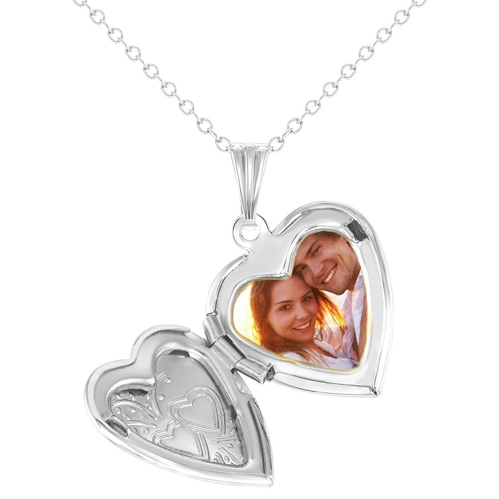 In Season Jewelry Love Two Hearts Small Memory Heart Photo Locket Girls Necklace Pendant 19