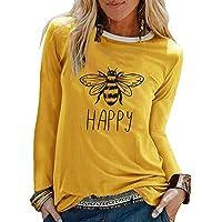 MNLOS Camiseta Holgada de Cuello Redondo Informal para Mujer Blusa de Manga Larga con Estampado de Abejas Top