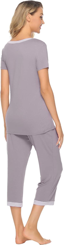 Hawiton Damen Schlafanzug Pyjama Set Kurz Zweiteilige Nachtw/äsche Nachthemd Hausanzug Kurzarm V Ausschnitt f/ür Sommer