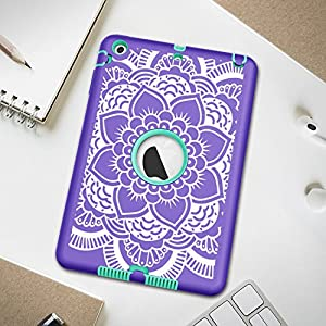 iPad mini/2/3 Case, Hocase Shockproof Hybrid Dual Layer Hard Rubber Protective Case with Cute Flower Design for Apple iPad mini 1st/2nd/3rd gen 7.9-inch - Purple / Teal