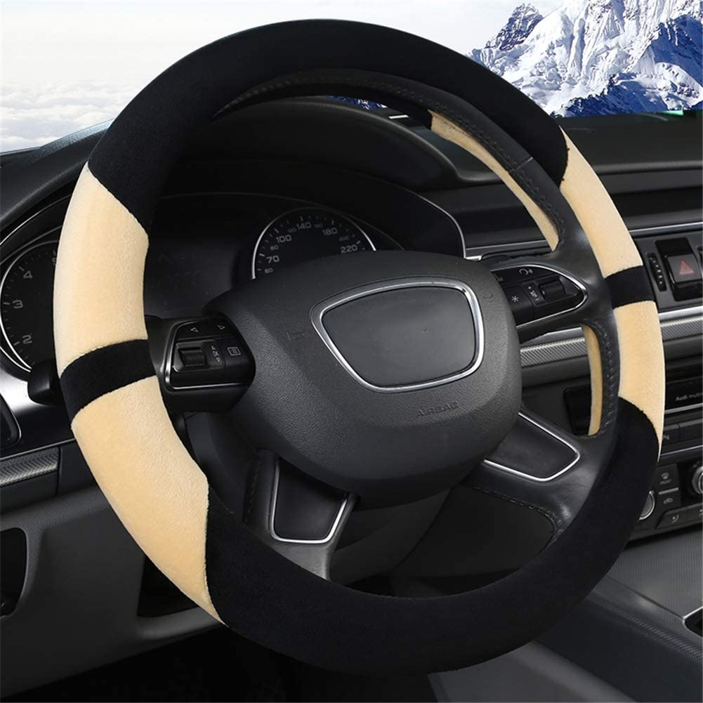 Plush Warm Soft Car Steering Wheel Cover Anti-Slip for Car SUV Scania R P and S Serie Bus RV Truck Excavator Bulldozer Crane ,36cm Gray
