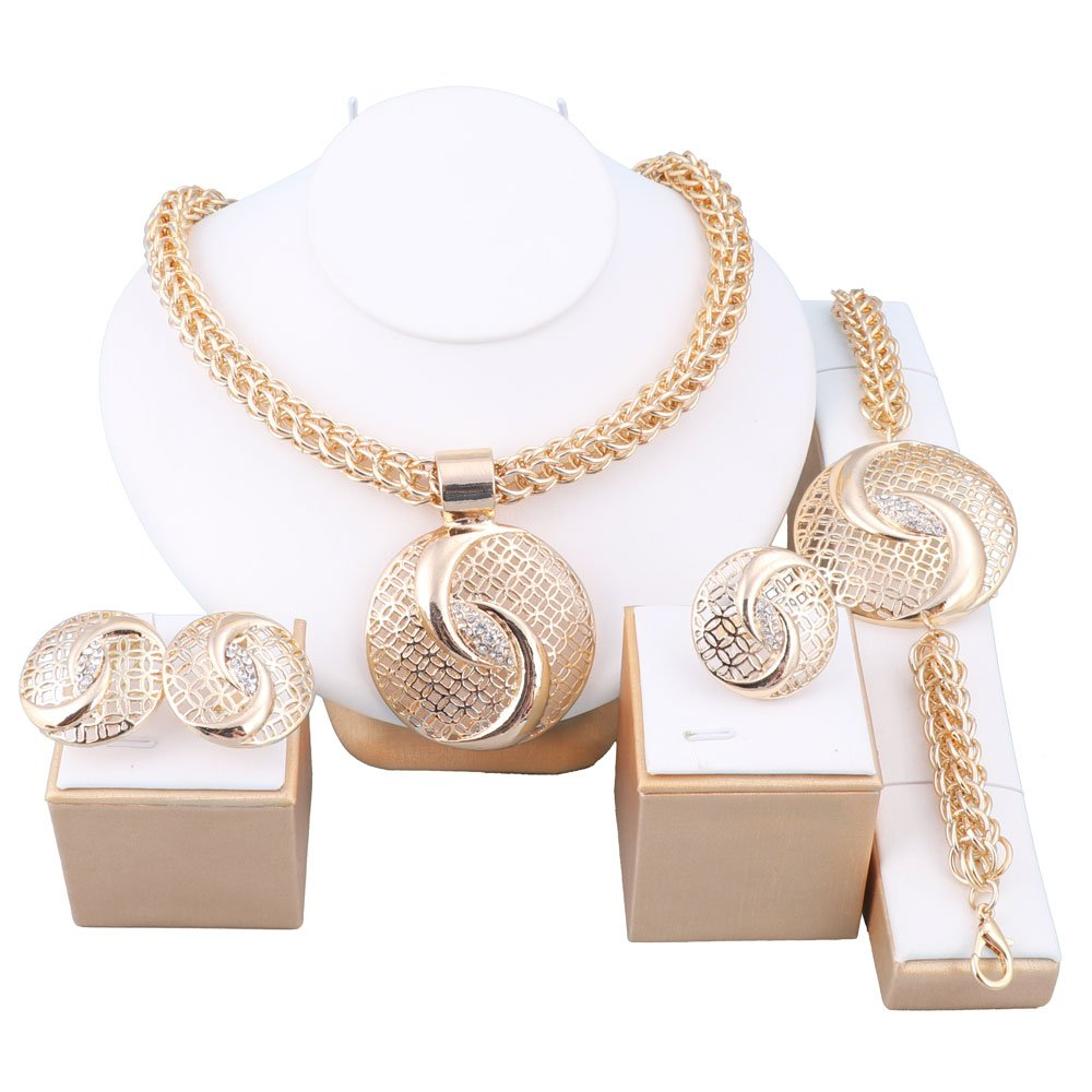 OUHE 18K Gold Plated Africa Style Golden Necklace Earrings Jewelry Set For Women Party Wedding (gold)