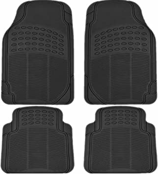 FH Group FH-F11307 Front Row All Weather Trimmable Black Vinyl Floor Mat 2 pcs