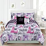 HowPlumb Bedding Twin 4 Piece Girls Comforter Bed Set, Paris Eiffel Tower London Pink and Purple