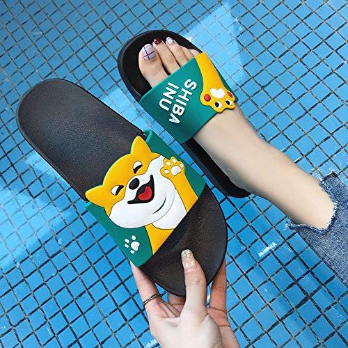 uomini verde estate cartoon D anti cool home matura interno donne grazioso soggiorno bagno 43 fankou bagno slittamento Pantofole uomini con e pantofole 42 qExwnB5