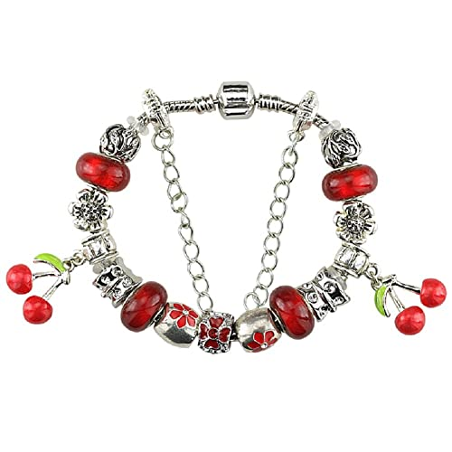 df378cc47 Amazon.com: Duchy Silver Plated Charm Bracelet Charms Pandora Red Cherry  Christmas Birthday Gift Teen Girl 10 Year Old Teenage 7 Inch Jewelry DIY  Hand Made ...