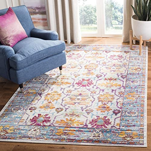 Safavieh Crystal Collection CRS518G Cream and Teal Distressed Area Rug 6'7″ x 9'2″