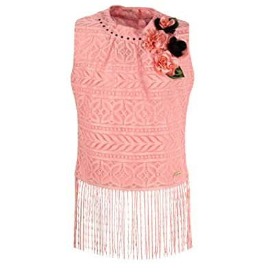 051468783f Cutecumber Girls Lace Fabric Embellished Peach Sleeveless Top AM-TP-2052A- Peach-