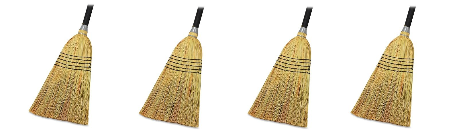 Genuine Joe GJO58563 Natural Fiber Janitor Lobby Blend Manual Broom, 56'' Handle Length, 11'' Bristles (4)
