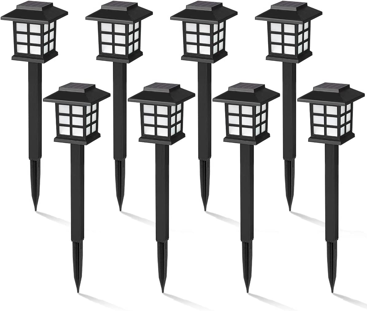 GIGALUMI 8 Pack Solar Pathway Lights Outdoor, Waterproof Outdoor Solar Lights for Garden, Landscape, Path, Yard, Patio, Driveway, Walkway