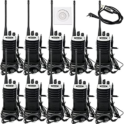 Retevis RT7 2 Way Radio 3W 16 CH UHF Handheld Walkie Talkies with Earpiece and Programming Cable (Silver Black Border, 10 Pack)
