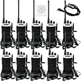 Retevis RT7 Two Way Radios 3W VOX 16 CH Rechargeable 400-470 MHz FM Radio Walkie Talkies with Earpiece (Silver Black Border,10 Pack) and Programming Cable