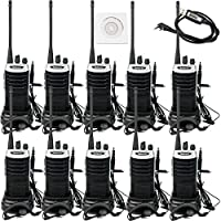 Retevis RT7 Two Way Radio 3W 16 CH 400-470 MHz VOX FM Radio Handheld Walkie Talkies with Earpiece (Silver Black Border,10 Pack) and Programming Cable