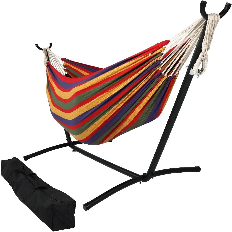 Sunnydaze 9 ft Steel Hammock Stand with Double Brazilian Hammock Combo - Tropical
