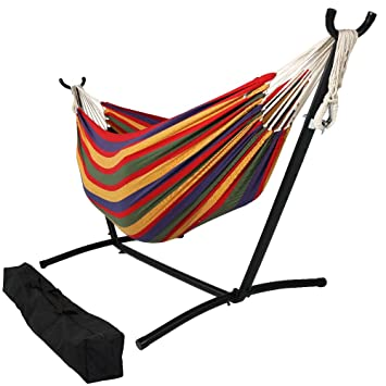 sunnydaze brazilian double hammock 2 person portable hammock bed for indoor or outdoor use amazon    sunnydaze double brazilian hammocks   multiple colors      rh   amazon