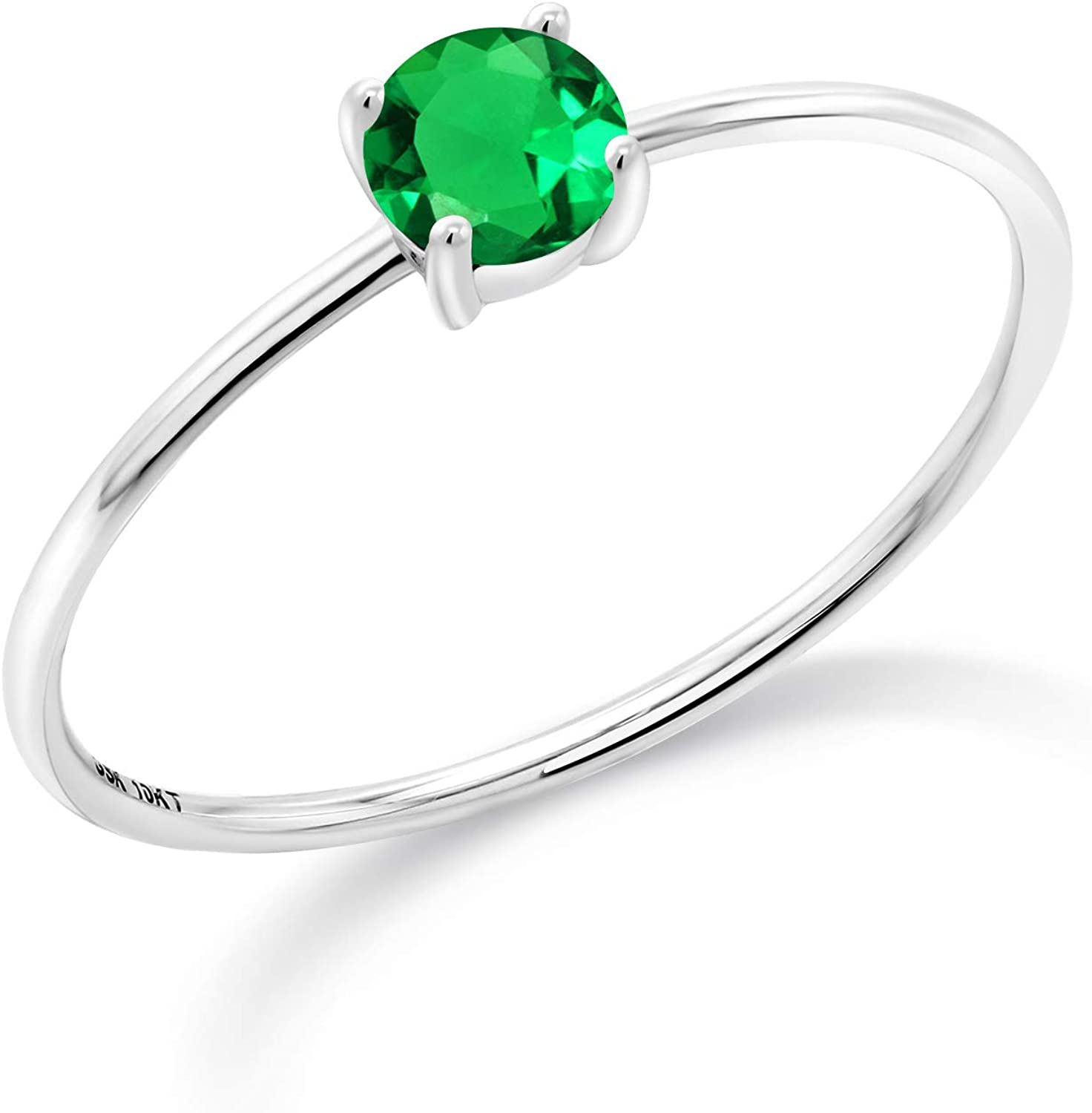 Gem Stone King 10K White Gold Green Simulated Emerald Women Engagement Ring (0.30 Ct Round Available in size 5, 6, 7, 8, 9)