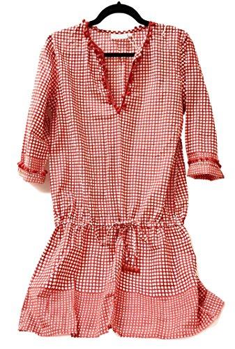 Ric Rac Dot - Shiraleah Womens Cotton Beach Swim Pool Cover-Up Dress Long Sleeve Red Orange (X-Large)