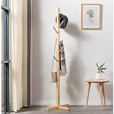Amazon.com: lxla- Simple Simple perchero de piso de madera ...