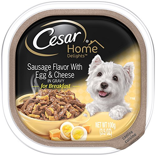 CESAR HOME DELIGHTS Sausage Flavor With Egg and Cheese Wet Dog Food Trays 3.5 Ounces (Pack of 24)