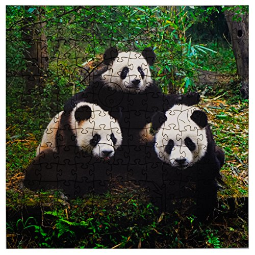 Mosaic Puzzles Wooden Jigsaw Puzzle - Giant Pandas - 202 Unique Pieces Challenge Any Puzzle Lover from Ages 8 to 98 - Made in The USA by Zen Art & Design