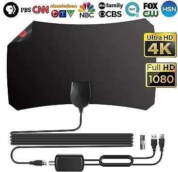 Antena Interior TV, Digital HDTV Antena Portatil para TDT DVB-T DVB-T2 con Amplificador, Rango de recepción de 190 KM (12 FT Cable Antena TV, Negro)