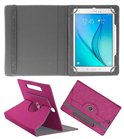 Acm Designer Rotating Leather Flip Case Compatible with Samsung Galaxy Tab S2 8.0 Cover Stand Dark Pink Tablet Accessories