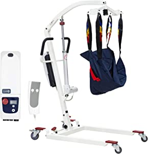 Prowinch Portable Electric Patient Lifter 400 lbs. Medical Body Lifter and Transport with Full Size Polyester Harness