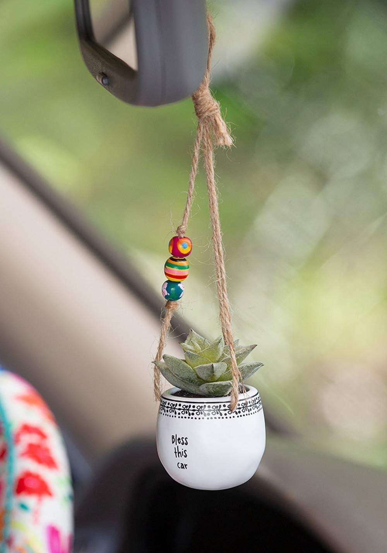 Natural Life Mini Macram Faux Succulent Pot Holder for Car Rear View Mirror Bless This Car