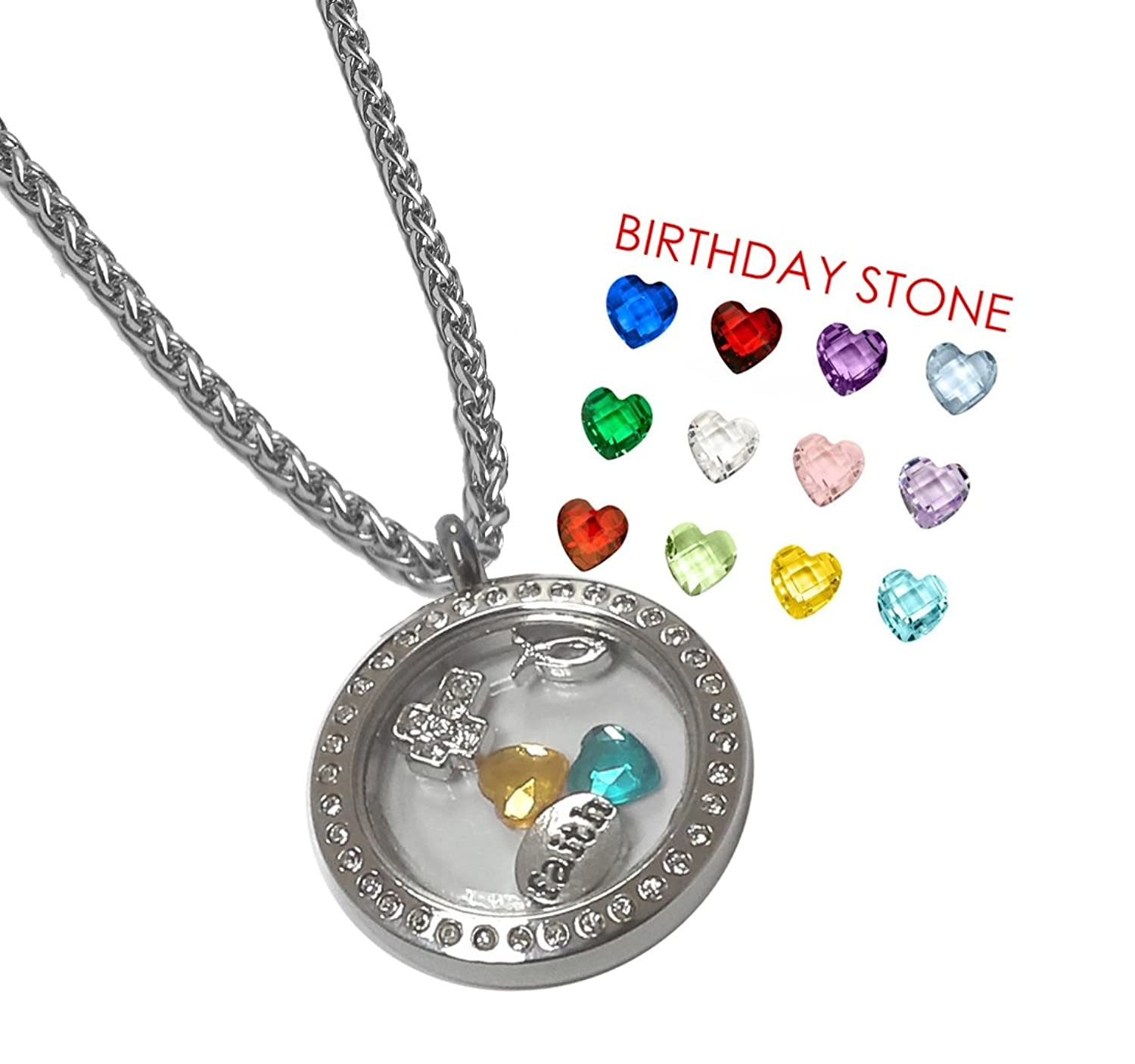 hover to charms addiction locket lockets floating necklace charm s birthstone eve zoom