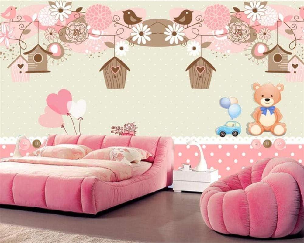 Habitación infantil de dibujos animados oso nido de pájaro Papelpintado notejidoMural de la pared Decoración de la pared impresión Imagen del póster Decorativo moderno Decoración del hogar