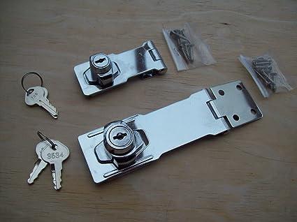 Ironmongery World® 2 tamaños cromado aldaba para candados de bloqueo auto bloqueo para furgonetas cobertizo