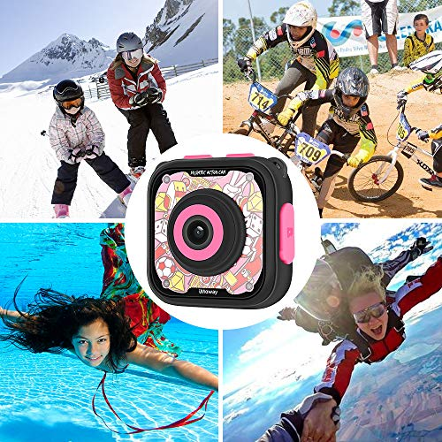 Kids Camera, iMoway Waterproof Video Cameras for Kids HD 1080P Kids Digital Cameras Camcorder with 16GB Memory Card, Card Reader and Floating Hand Grip (Pink) by iMoway (Image #5)