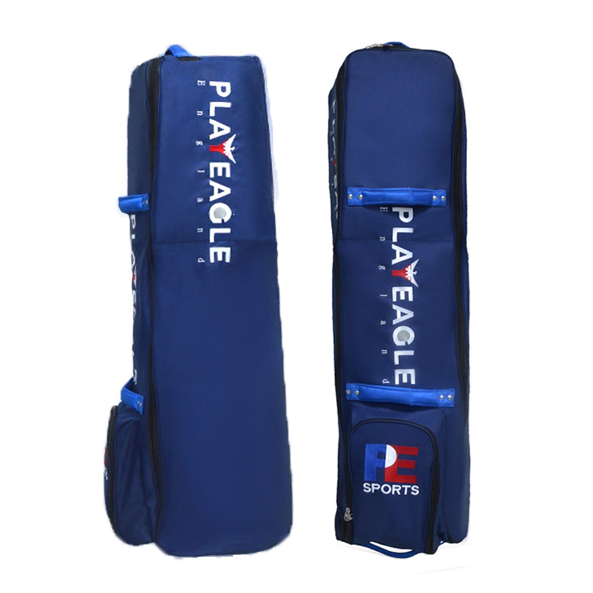 PLAYEAGLE Airplane Golf Bag for Travel with Password Lock Foldable Waterproof Nylon Golf Bag Cover Zipper with Wheels(Blue)