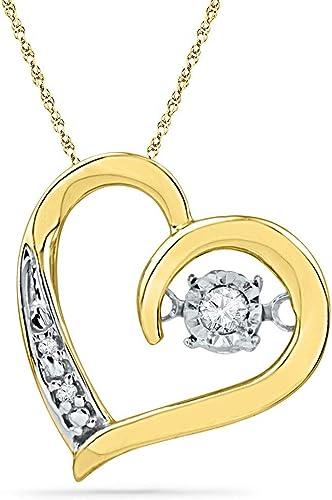 10kt Yellow Gold Womens Round Diamond Double Dolphin Heart Pendant .03 Cttw