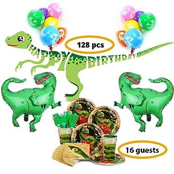 Beas Party Cumpleaños infantiles decoración Fiestas de dinosaurios Set decoración cumpleaños dinosaurios para 16 invitados Adornos cumpleaños ...