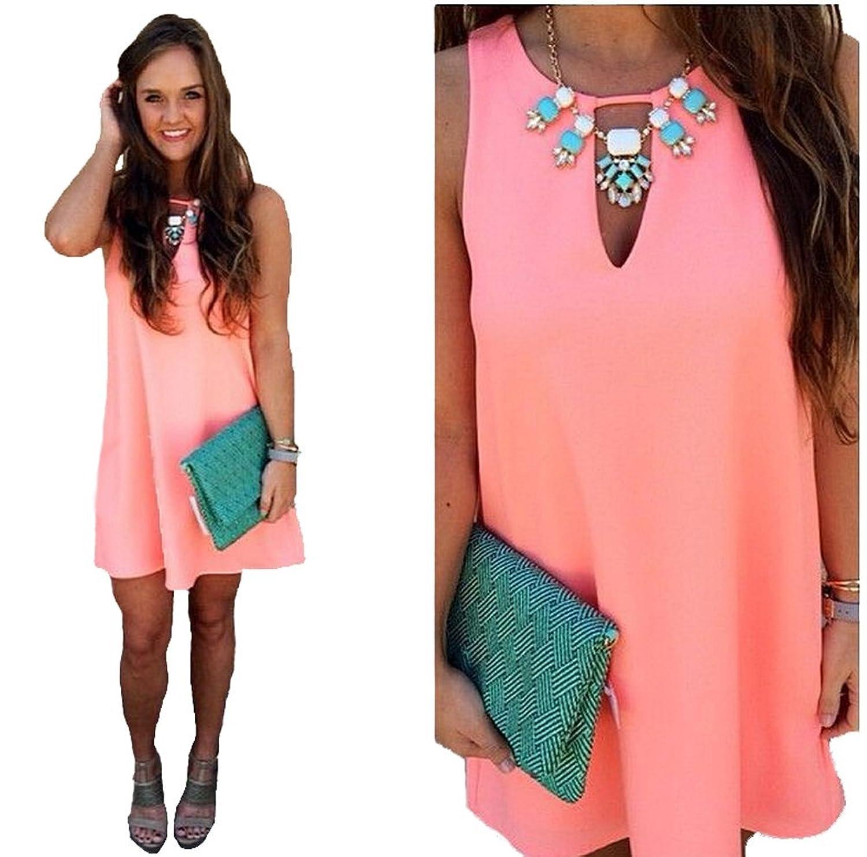 Damen Boho Kurz Mini Dresses Sommer Beachwear Party Kleid günstig ...