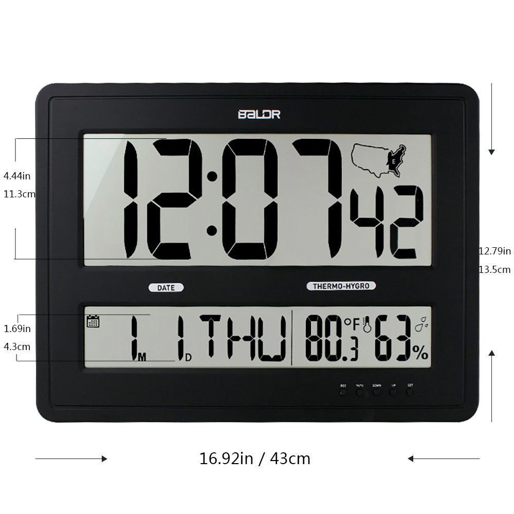 Amazon Baldr Large Digital Wall Clock With Big Time Display