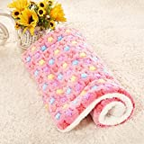 Fund Coral Fleece Star Warming Pet Bed Cushion Pad Dog Cat Cage Kennel Crate Soft Cozy Mat (XL(100X75CM), Pink)