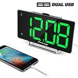 "K-star Digital Alarm Clock 9"" Large LED Display Dual Alarm with USB Charger Port 0-100 Brightness Dimmer Simple Operation Bedside Alarm Clock for Bedrooms"