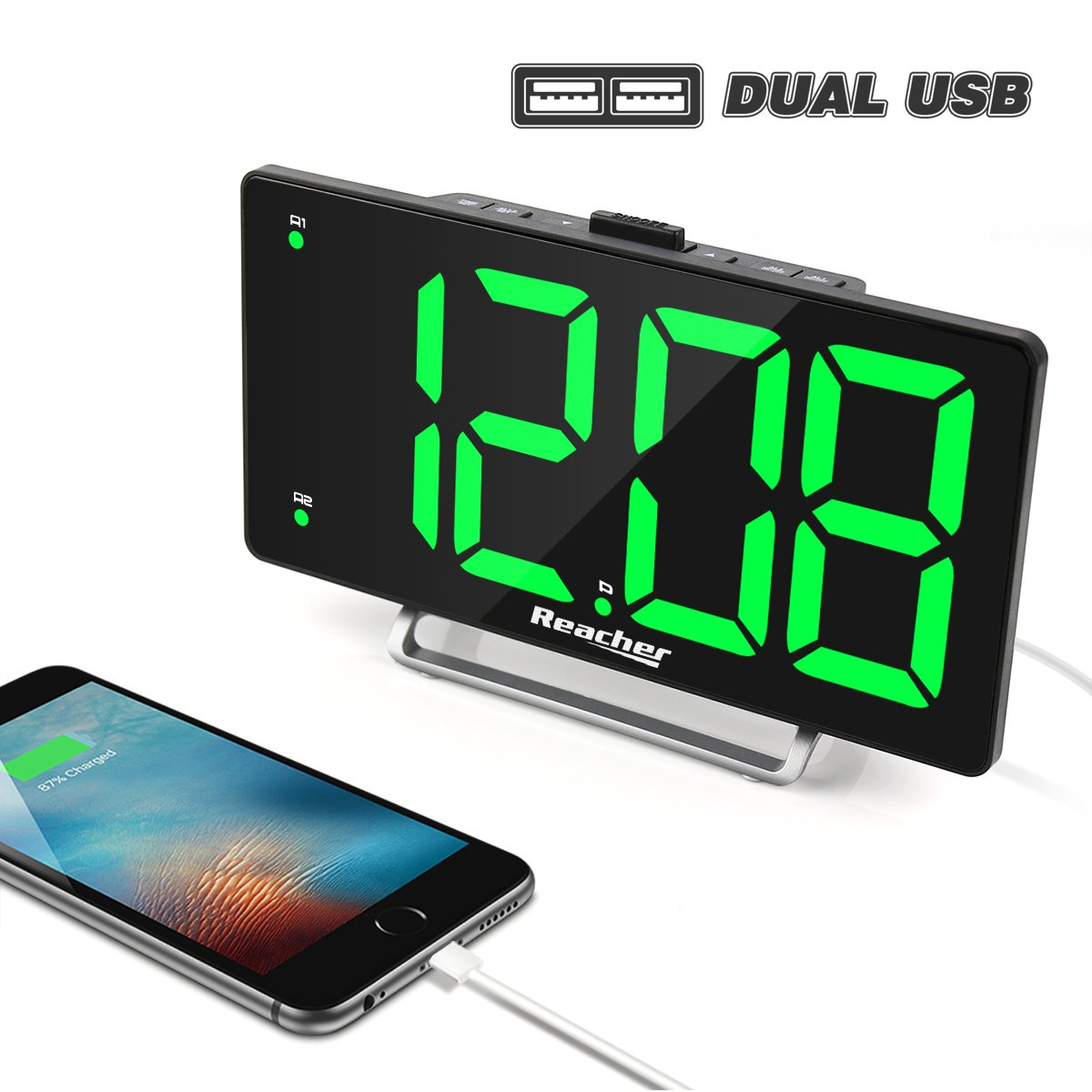 K-star Digital Alarm Clock 9'' Large LED Display Dual Alarm with USB Charger Port 0-100 Brightness Dimmer Simple Operation Bedside Alarm Clock for Bedrooms