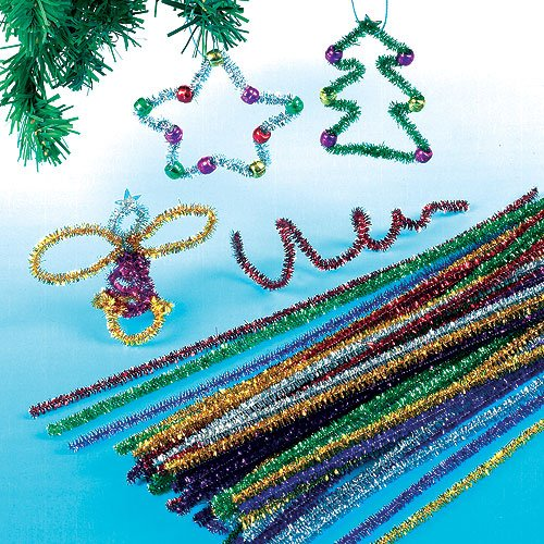 Baker Ross Tinsel Pipe Cleaners for Children for Christmas Crafts (Pack of 72)