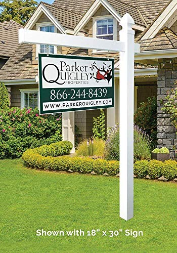 Vinyl PVC Real Estate Sign Post - White - 6' Tall Post White 47'' Arm by 4EVER (Image #5)