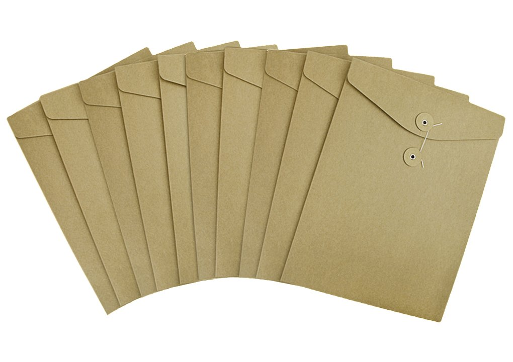 Pack 10 A4 Kraft File Bag Brown Paper Document Portfolio Pocket Organizer Folder Envelope with String & Button Closure