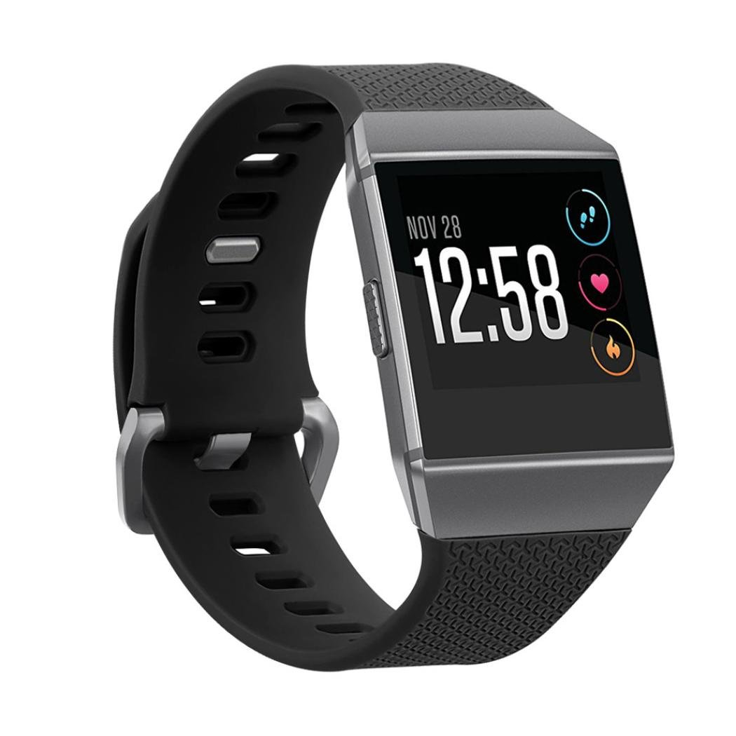 inverlee Fitbit Ionic Watch Bband、シリコン交換スポーツ腕時計ブレスレットストラップバンドfor Fitbit Ionic  ブラック B075ZKGM7P