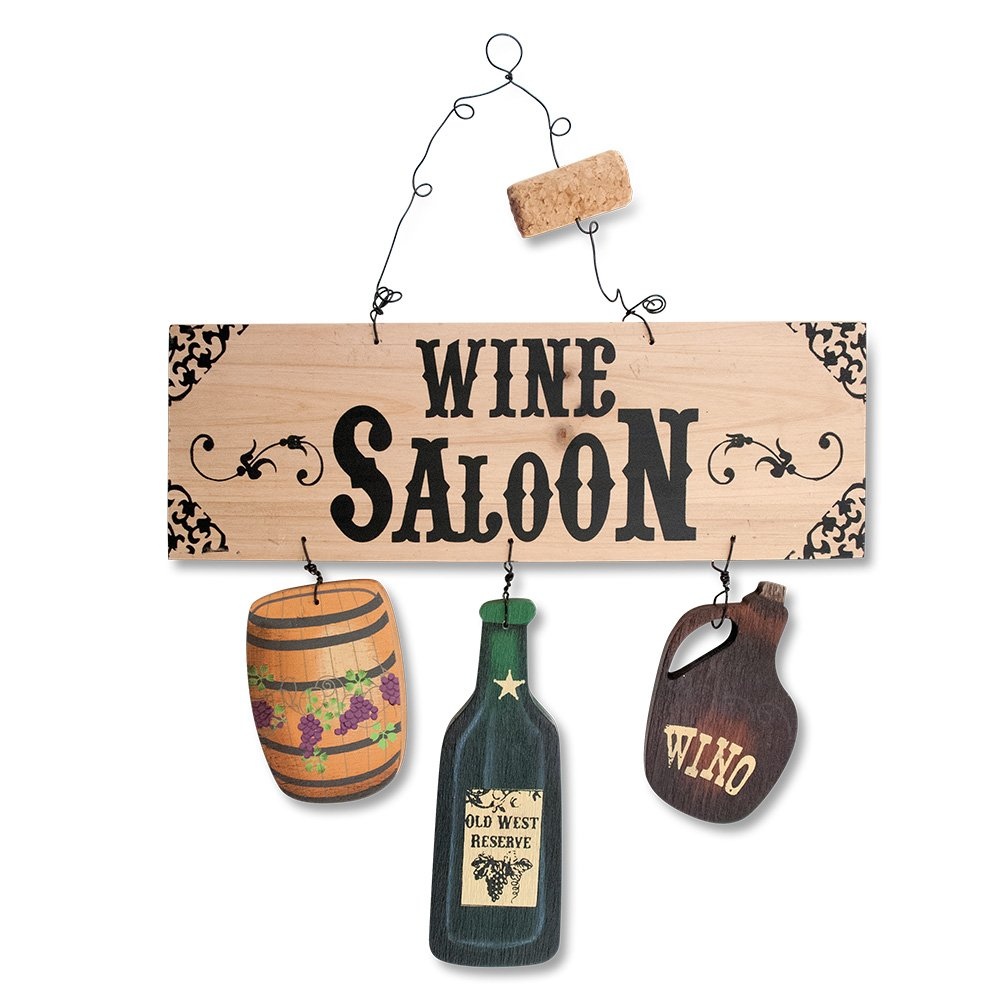 Epic Products Wine Saloon Wood Cut-Out Sign, Multicolor