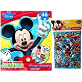 "2 Item Bundle: 46 Piece Extra Large Disney Licensed Mickey Mouse Clubhouse Foam Puzzle Activity 13"" X 24"" and Disney Mickey Mouse Stickers"